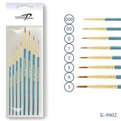 Набор кистей 8шт/Синтетика круглая (000,00,0,1,2,3,4,5) (голубая ручка )