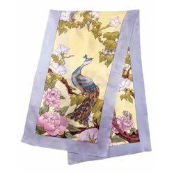 """Шелк. шарф с контурн. рисунком 45х180 """"Райские птицы"""""""