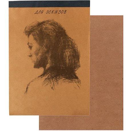 """Альбом для эскизов """"Модель"""" 20л. Картон.подл.крафт 500*700"""