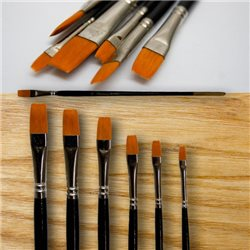 Набор кистей из плоской синтет. (черная ручка) - 6 шт.