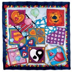"Шелк. платок с контурным рисунком 90х90 ""Сердце"""