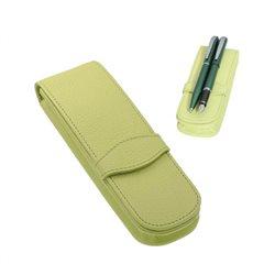 Футляр из натур. кожи для пишущих инструментов (на 2 ручки), салатовый