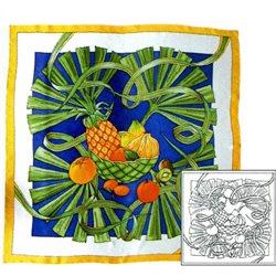 """Шелк. платок с контурным рисунком 90х90 """"Фрукты и пальмовые листья"""""""