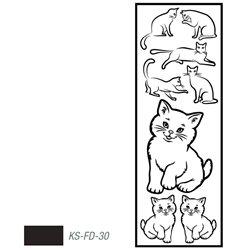 """Мотив с эффектом велюра """"Котята"""" черный, термотрансфертный 10х30см"""
