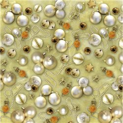 Набор для Scrapbooking, калька 30,5х30,5 см. 5 листов рождественские шары золотые