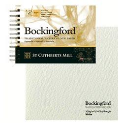Блок акварельной бумаги на спирали Bockingford Rough Spiral 300 г/м, 13х18 см, 12 листов, крупное зерно