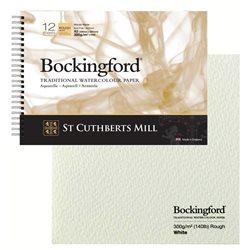 Блок акварельной бумаги на спирали Bockingford Rough Spiral 300 г/м, 29.х42 см (A3), 12 листов, крупное зерно