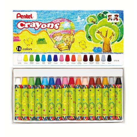 Восковые мелки Pentel Crayons в картоне 16 шт
