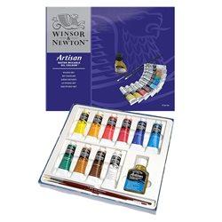 Студийный набор, масляные водорастворимые краски Artisan, тюбики 10х37 мл, кисти 2 шт., льняное масло 75 мл., в картонной коробк