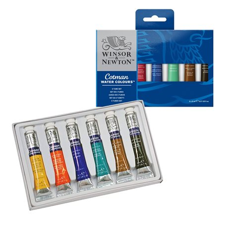 Набор акварели Cotman для начинающих, 6шт 8 мл тюбиков акварельных красок Cotman, в картонной коробке