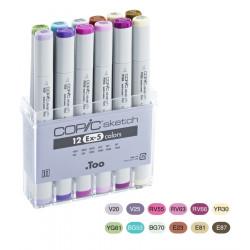 Набор маркеров COPIC sketch EX-5 (12 шт) в пласт.пенале