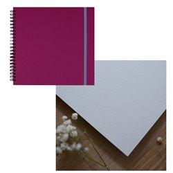 Скетчбук 20x20 watercolor бордовый 25% хлопок