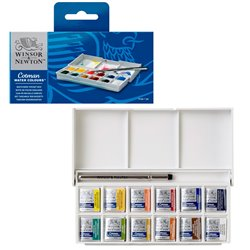 Набор акварели Cotman в пластиковой карманной коробке для эскизов 12 маленьких кюветов