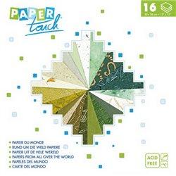 Блок бумаги 30*30см 16л/16 видов фактур и дизайна/ Зеленая гамма