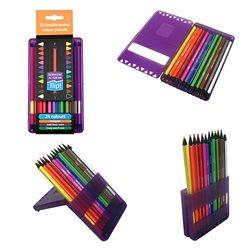 """Н-р двойных цветн. карандашей """"Academy Flip"""" в пенале-подставке/12 шт/24 цв."""