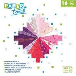 Блок бумаги 30*30см 16л/16 видов фактур и дизайна/ Розово-фиолет. гамма
