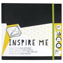 Альбом Inspire Me для маркеров/ 200х200мм/ 80л.,120гр/ с резинкой и карманом