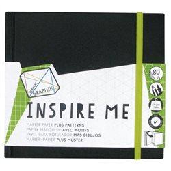 Альбом Inspire Me для маркеров/ 140х140мм/ 80л.,120гр/ с резинкой и карманом