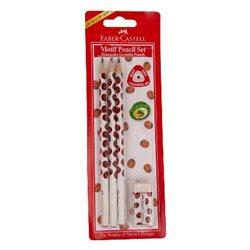 Чернографитовый карандаш TRIANGULAR с цветным мотивом (божья коровка) в блистере 3 шт.+ ластик