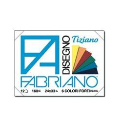"""Склейка пастельной бумаги """"TIZIANO"""" яркие цвета, 160гр., 24х33см., 12л."""