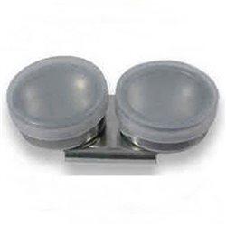 Масленка двойная, металл. с пластиковой крышкой d-40