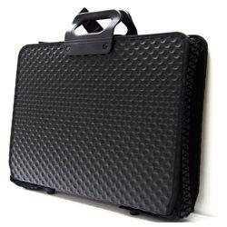 Папка А3 черн. жесткий, рифленый пластик, широк.молния/ 2 карман, резинки
