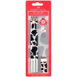 Чернографитовый карандаш TRIANGULAR с цветным мотивом (корова) в блистере 3 шт.+ ластик