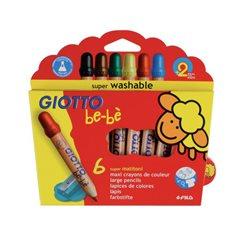 Деревянные карандаши с точилкой 6 цв. GIOTTO BEBESuper