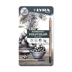 Набор карандашей цветных Lyra Rembrandt Polycolor - оттенки серого - 12 шт.