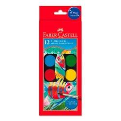 Акварельные краски WATERCOLOURS с кисточкой, диаметр 24 мм, набор цветов, в пластиковом поддоне, 12 шт.