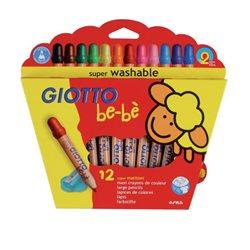 Деревянные карандаши с точилкой 12 цв. GIOTTO BEBESuper