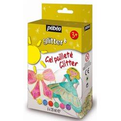 Набор красок с глиттером GEL PAILLETE, блистер 6х20 мл