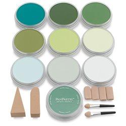 Набор ультрамягк. пастели PanPastel, 10 цв., 2х4 насадки для мастихинов /зеленый