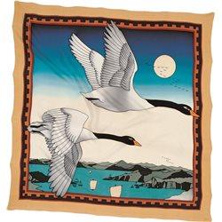 """Шелк. платок с контурным рисунком 90х90 """"Лебеди"""""""