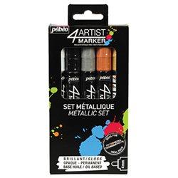Набор масляных маркеров 4ARTIST MARKER/ Металлики, 5 цв, 4 мм