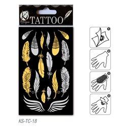 Временное тату 9,5х15,5 см/ Перья и крылья, золото и серебро