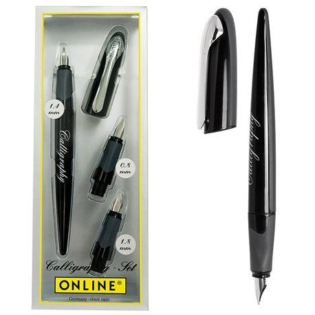 Набор каллиграфический- ручка черный корпус, 3 насадки с перьями 0,8, 1,4, 1,8 мм