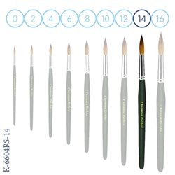 Синтетика № 14 круглая зеленая - короткая ручка