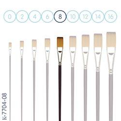 Синтетика № 8 плоская бордовая удлиненная ручка