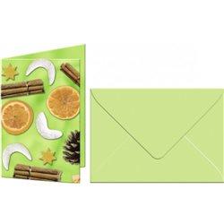 """Набор мини открыток с конвертами 11,3х16,5см,5 пар,Рождественское поппури"""",зеленые"""