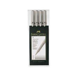 Набор ручка капиллярная Ecco Pigment 0.1,0.3, 0.5, 0.7 ммв пласт. пенале
