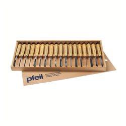 Набор компактных стамесок в деревянном футляре Pfeil D18 (18 шт)