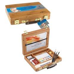 Набор акварельных красок в маленьких кюветах в бамбуковой коробке, 12 кюветов