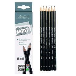 Набор графитовых карандашей Artist Studio Line - 6 карандашей для графики, твердости 2хB, 2xHB, 2хF