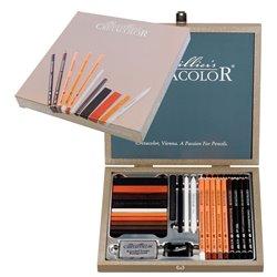 Набор художественный 25 предметов в деревянной коробке