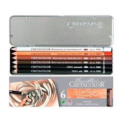 Набор жирных худож.карандашей OIL PENCILS, металлическая коробка, 6 шт