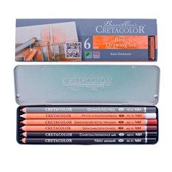 Набор карандашей PRIMO, металлическая коробка, 6 шт карандаш сангина, сепия, мел, угольный, Nero и водорастворимый графитовый 4В