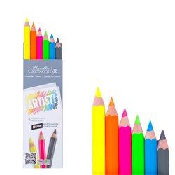 Набор Artist Studio Line - 5 неоновых цветных карандашей МЕГА + 1 графитовый карандаш МЕГА НВ
