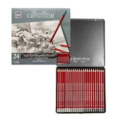 Набор высокохудожественных графитовых карандашей CLEOS, 20 мягкостей в металл.коробке, 24 шт.