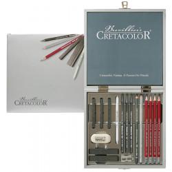Набор для рисования из 17 графитовых предметов в деревянной коробке, окрашенной в серебряной цвет
